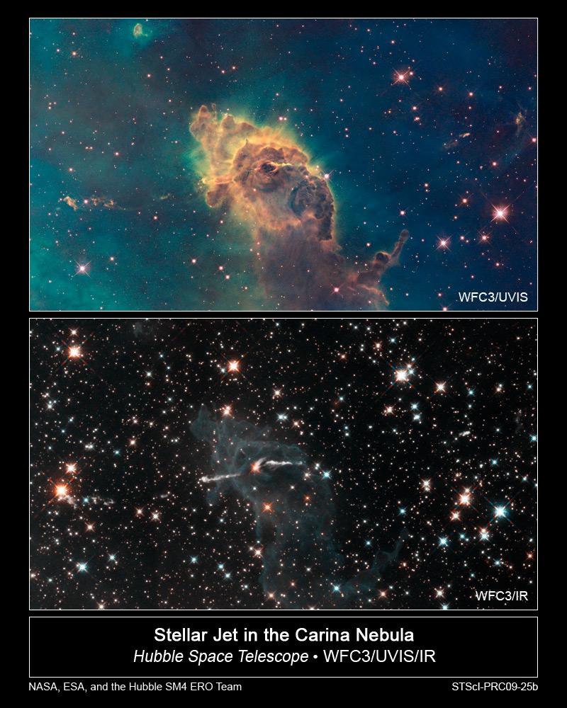 Туманность Киля в видимом спектре света (сверху) и инфракрасном (снизу)