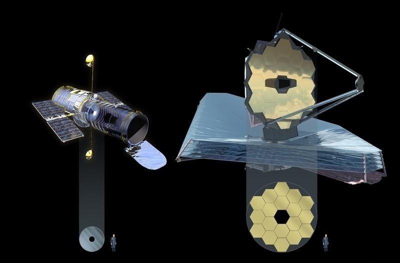 """Телескопы """"Хаббл"""" и """"Джеймс Уэбб"""" и их зеркала"""