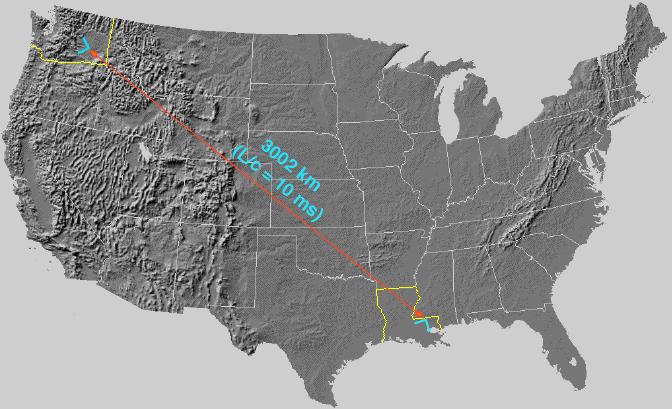 Расстояние от г. Хэнфорд (штат Вашингтон) до г. Ливингстон (Луизиана)