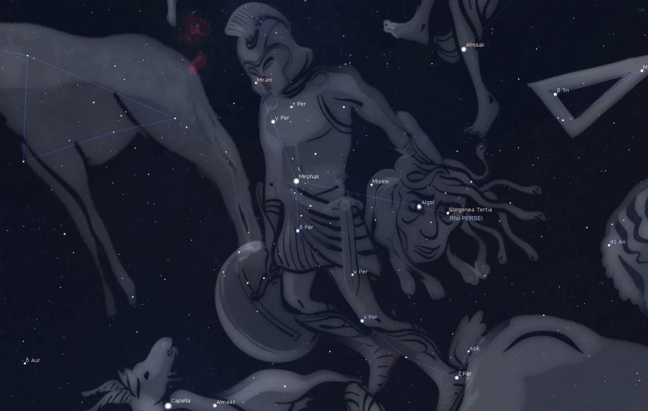 Бета Персея - глаз отрубленной головы Медузы горгоны