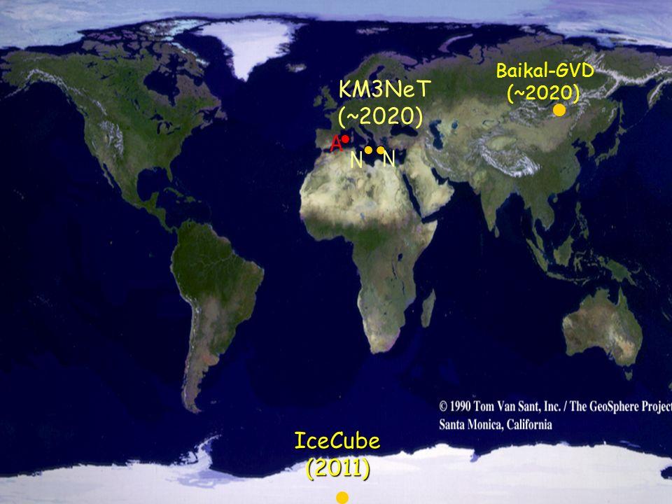 Расположение трех подводных нейтринных телескопов