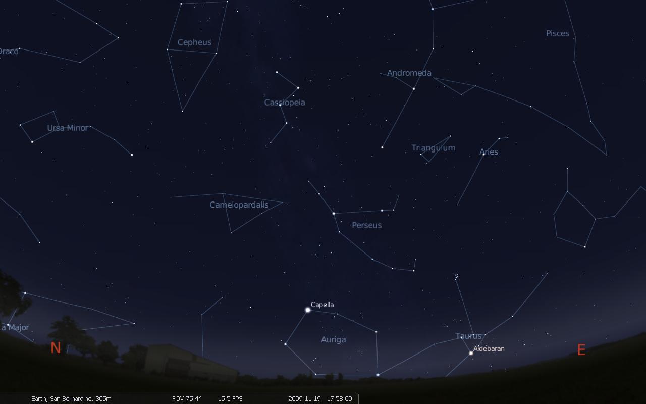Созвездие Кассиопея и другие созвездия