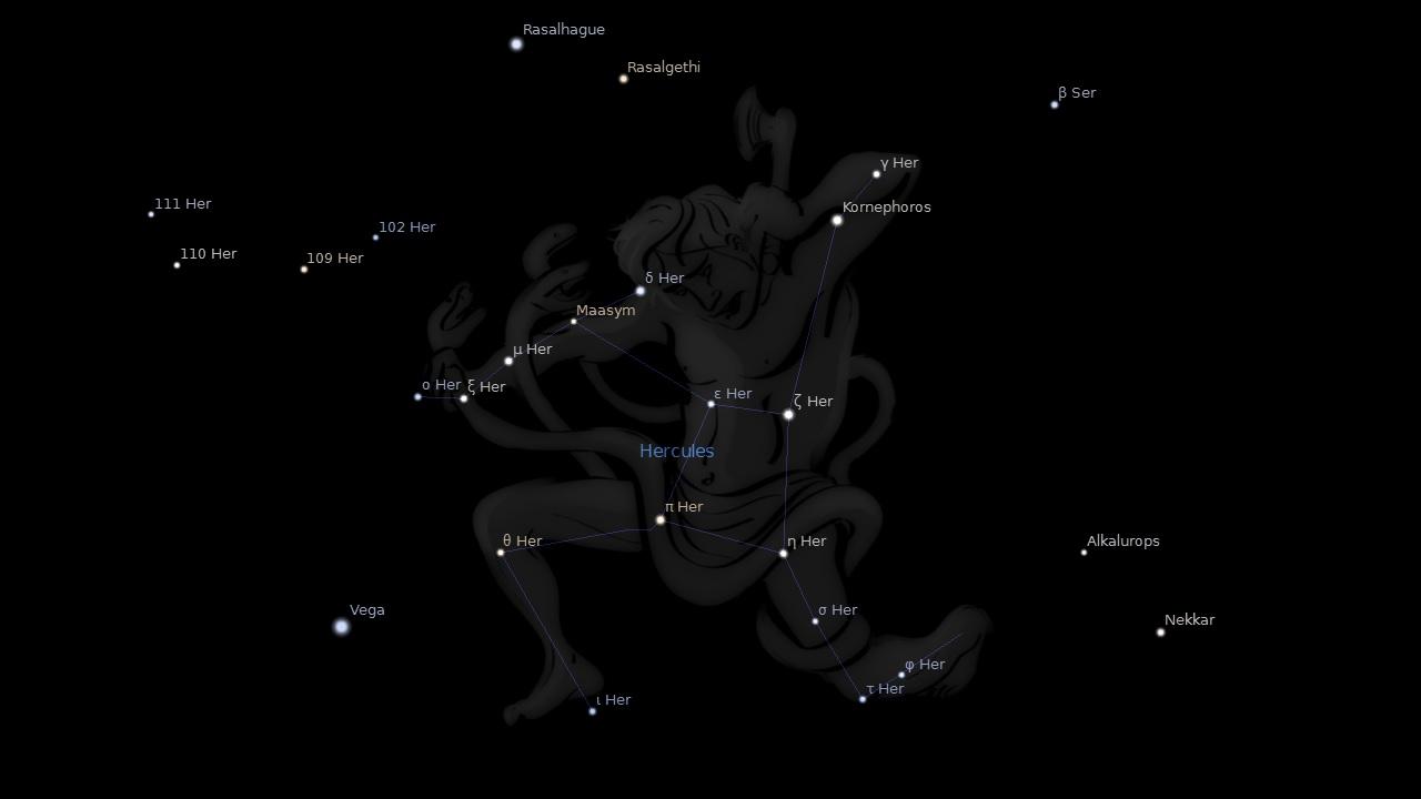 Рас Альгети (Rasalgethi) в созвездии Геркулес