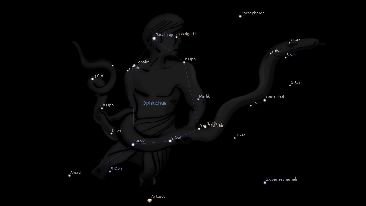 Звезда Рас Альхаге - голова Змееносца