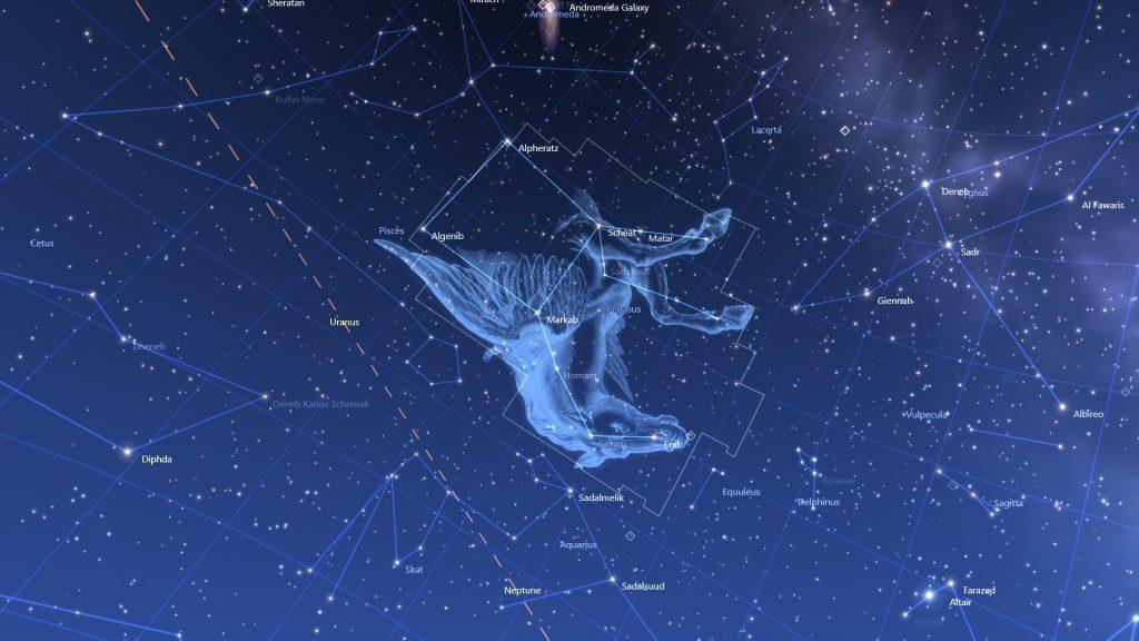 Созвездие Пегас и другие созвездия