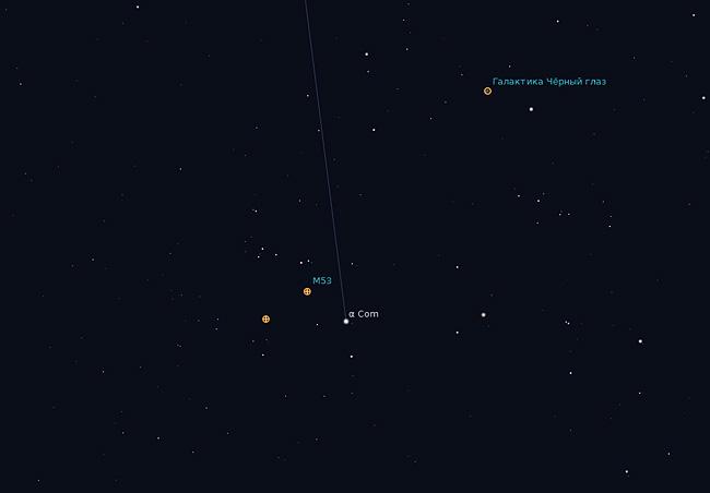Положение M53 относительно Альфа Вероники