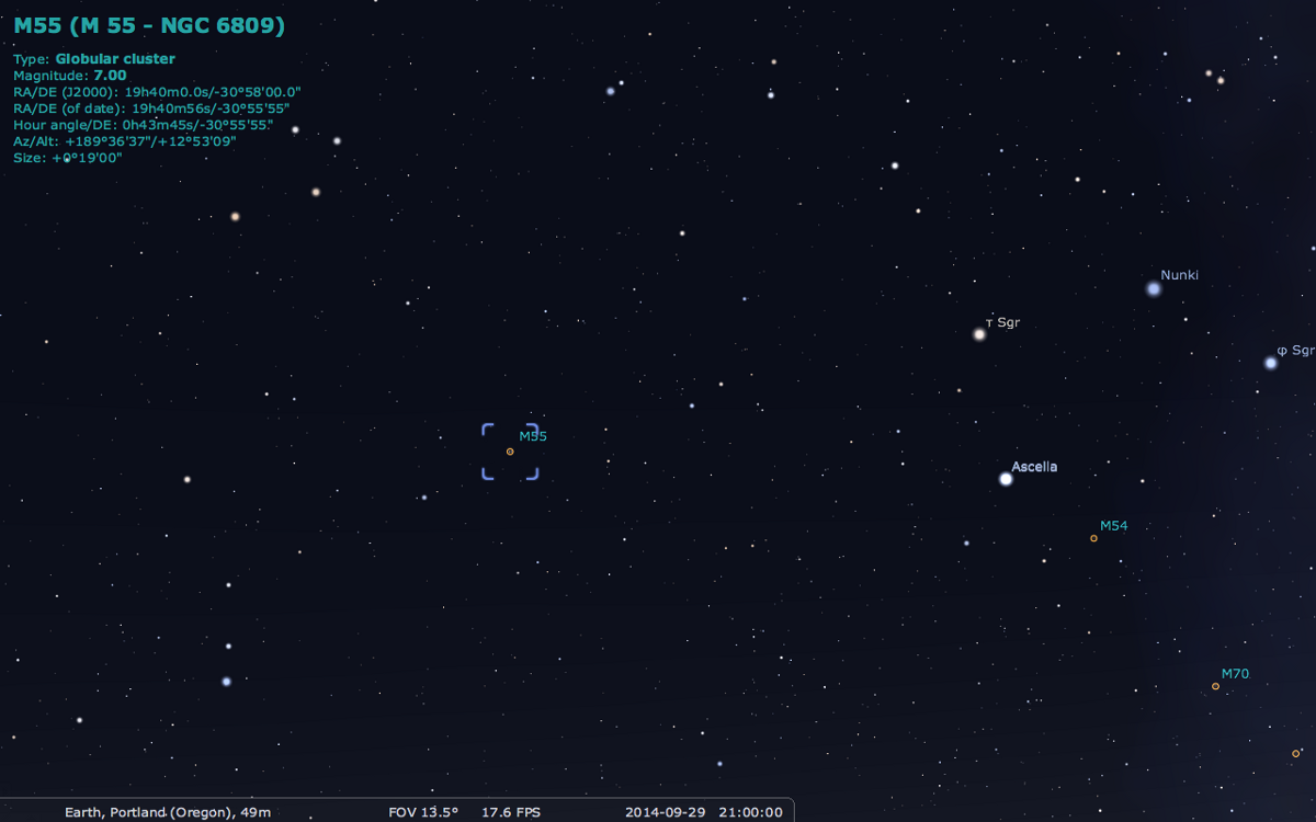 Положение скопление относительно звезд созвездия Стрелец