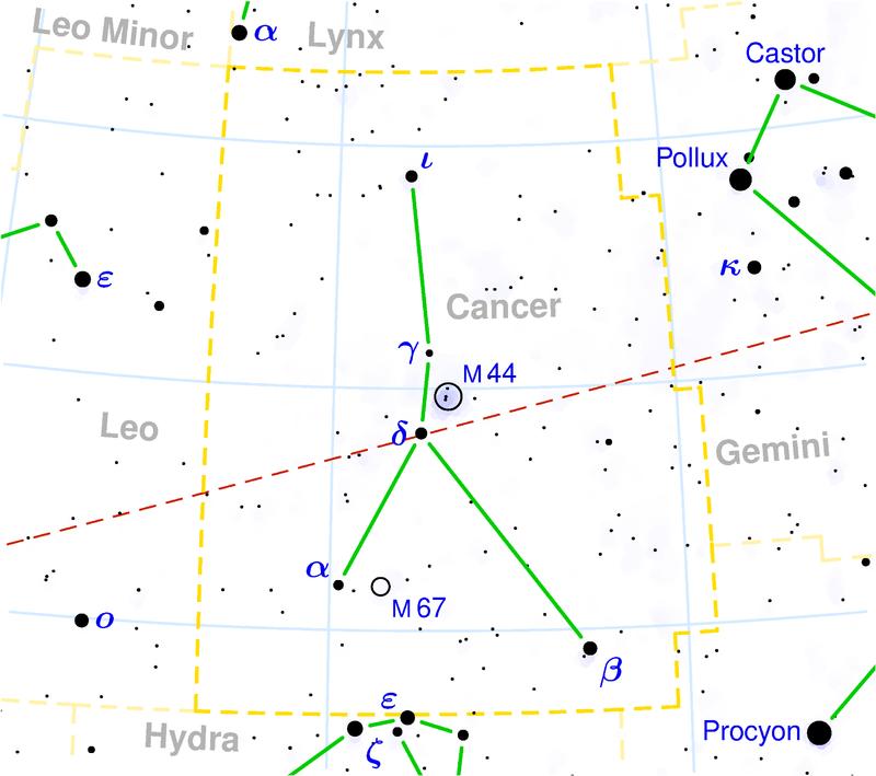 Положение скопления Мессье 67 в созвездии Рака