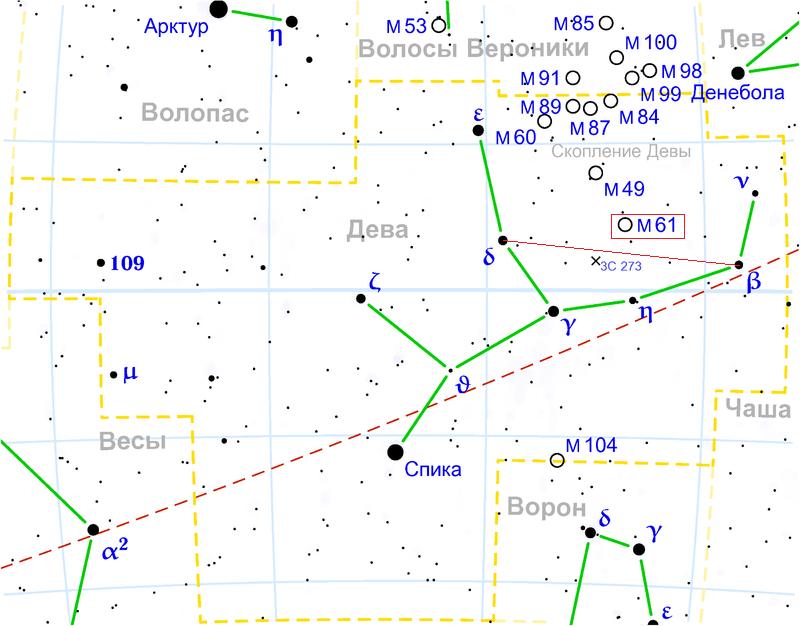 Галактика Мессье 61 в созвездии Девы