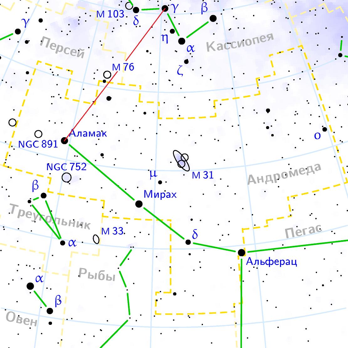 Положение туманности M76 относительно созвездий Перскй, Кассиопея и Андромеда