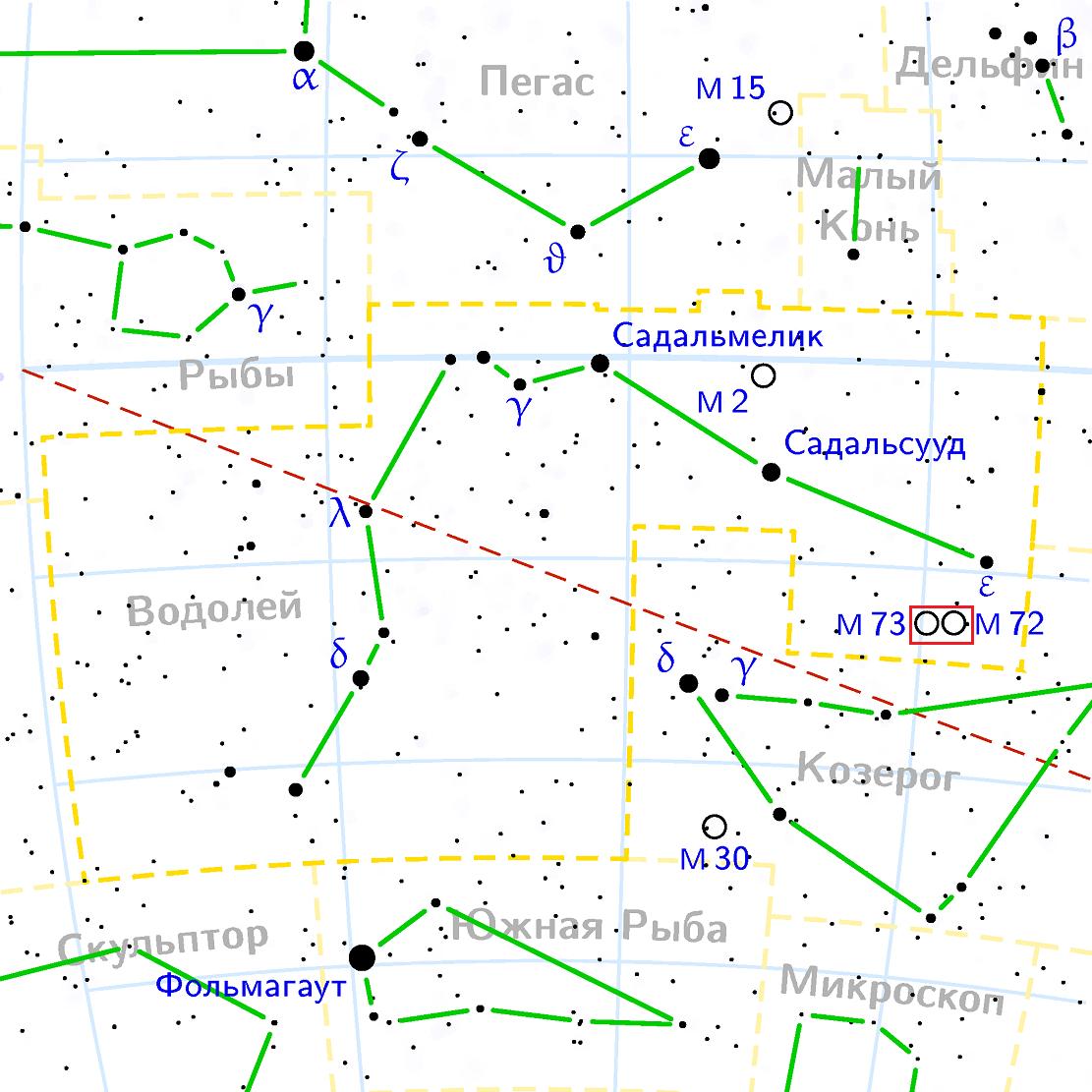 Положение скопления Мессье 73 в созвездии Водолей