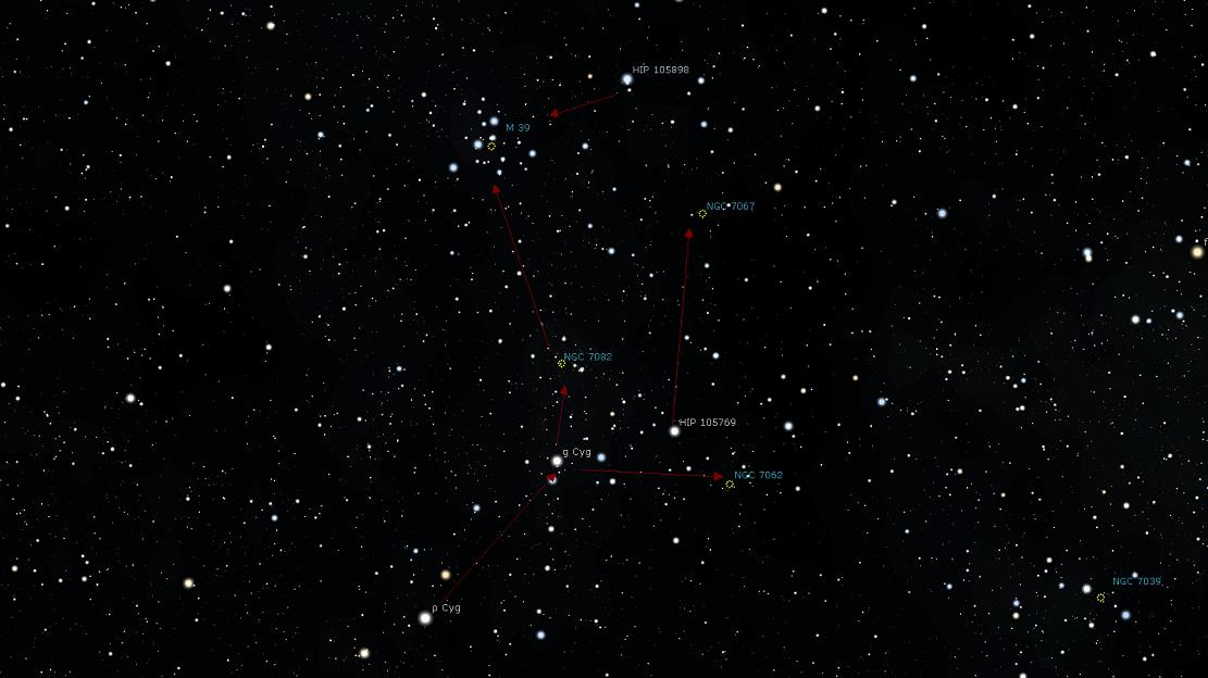 Положение скопления M39 относительно ближайших объектов