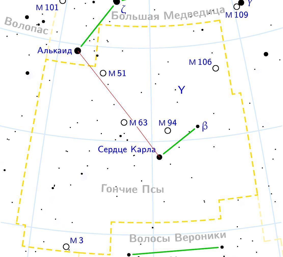Объект Мессье 63 в созвездии Гончие Псы