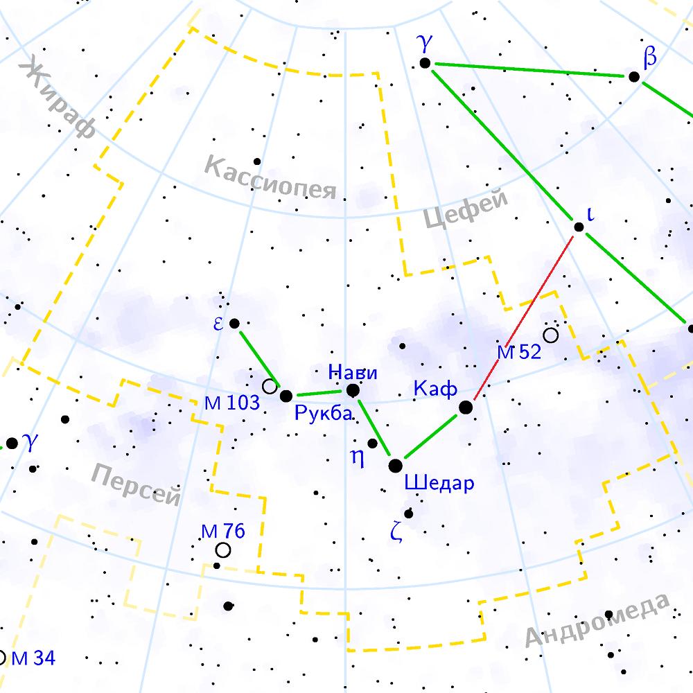 Положение M52 в созвездии Кассиопеи