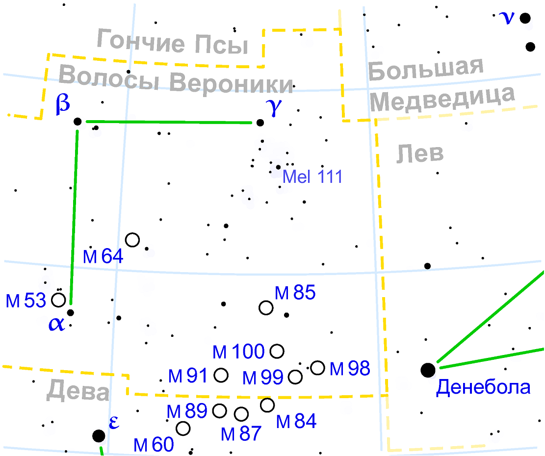 Положение скопления M53 в созвездии Волосы Вероники