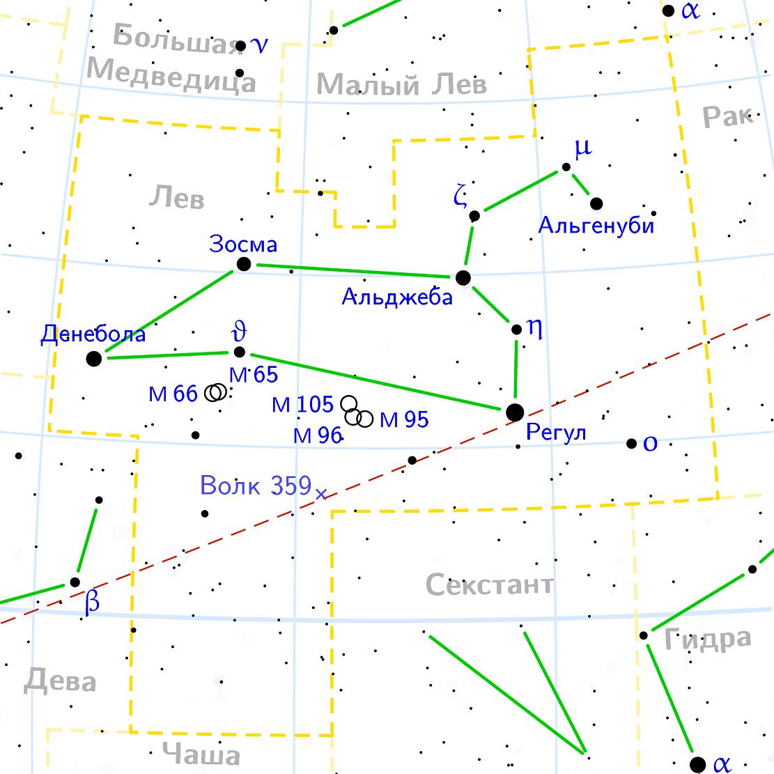 Положение галактики M65 в созвездии Льва