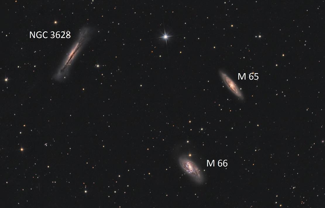 Расположение галактик Триплета Льва