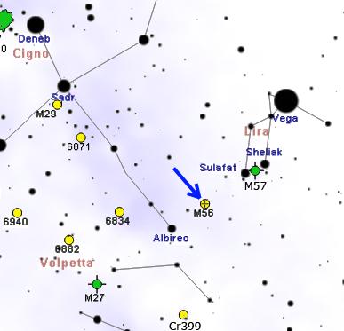 Положение скопления M56 относительно созвездий Лиры и Лебедя