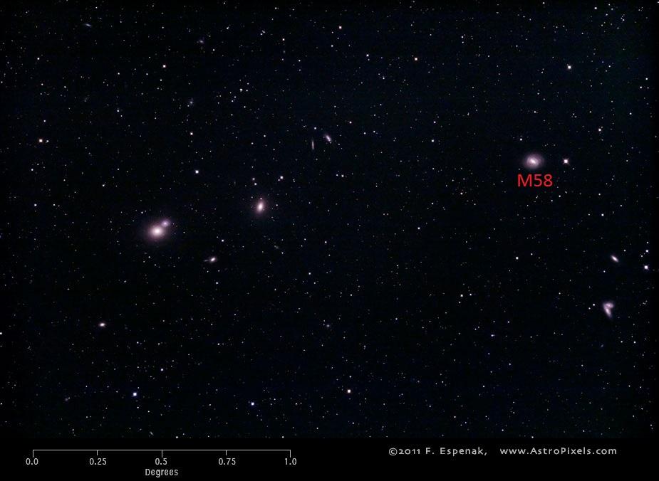 Вид галактики M58 в масштабах нескольких градусов
