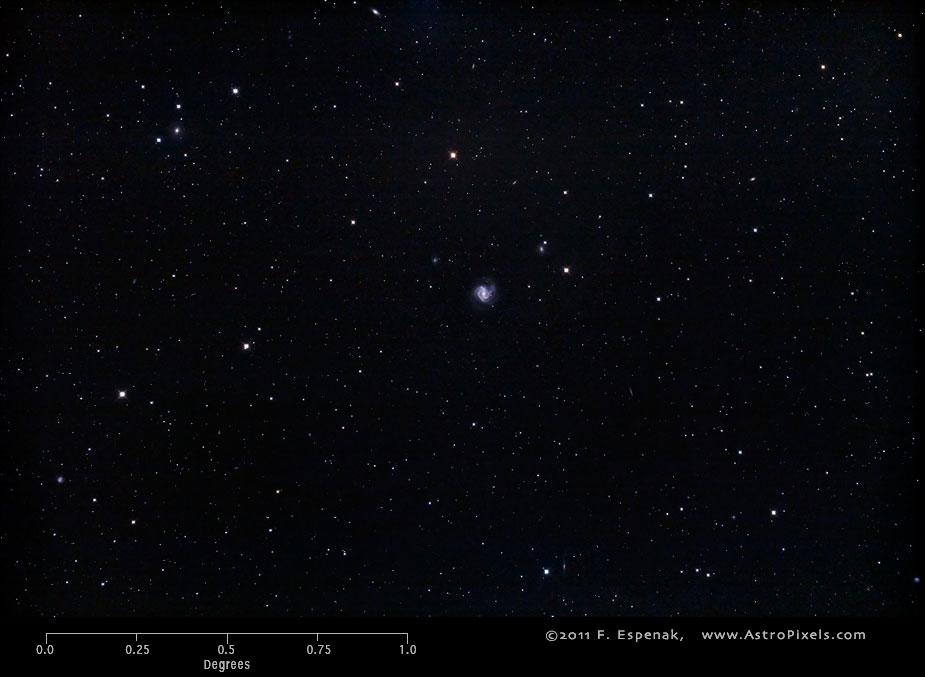 Спиральная галактика M61 в масштабах градуса