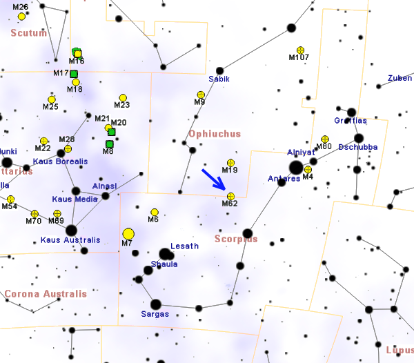 Положение скопления Мессье 62 в созвездии Змееносца