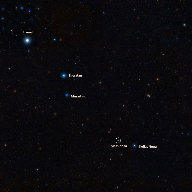 Положение галактики Мессье 74 относительно Эта Рыбы (Kullat Nunu)