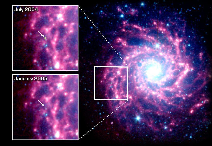 Положение сверхновой SN 2003gd в галактике Мессье 74