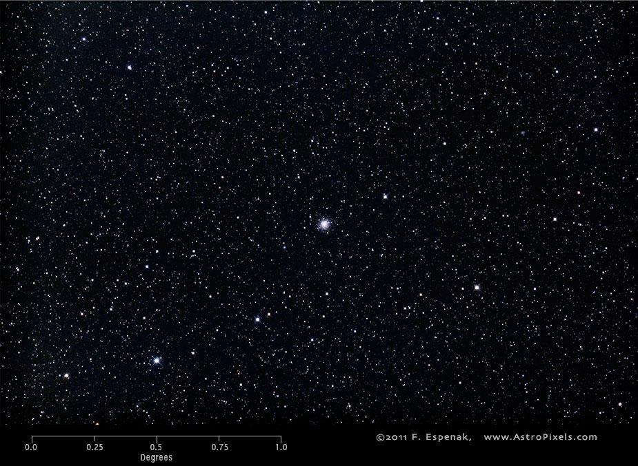 Шаровое скопление M75 в масштабах градуса