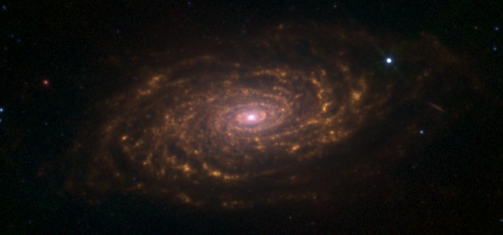 Галактика Подсолнух M63 в инфракрасном диапазоне. Можно заметить потоки пыли - оранжевый цвет.