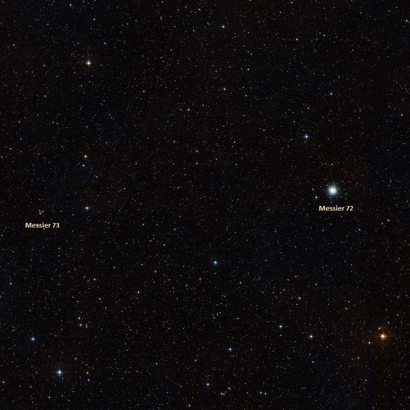 Шаровое скопление M72 и рассеянное скопление M73