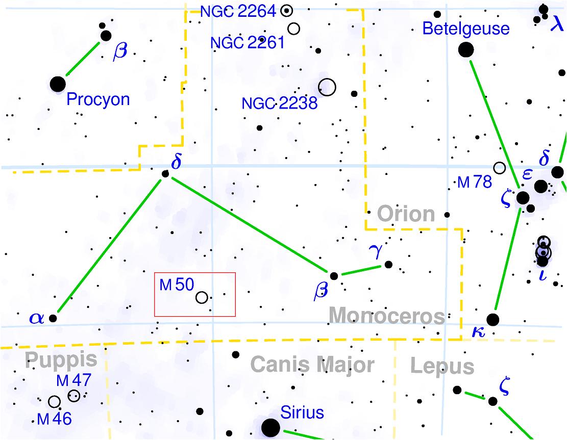 Положение скопления M50 в созвездии Единорога