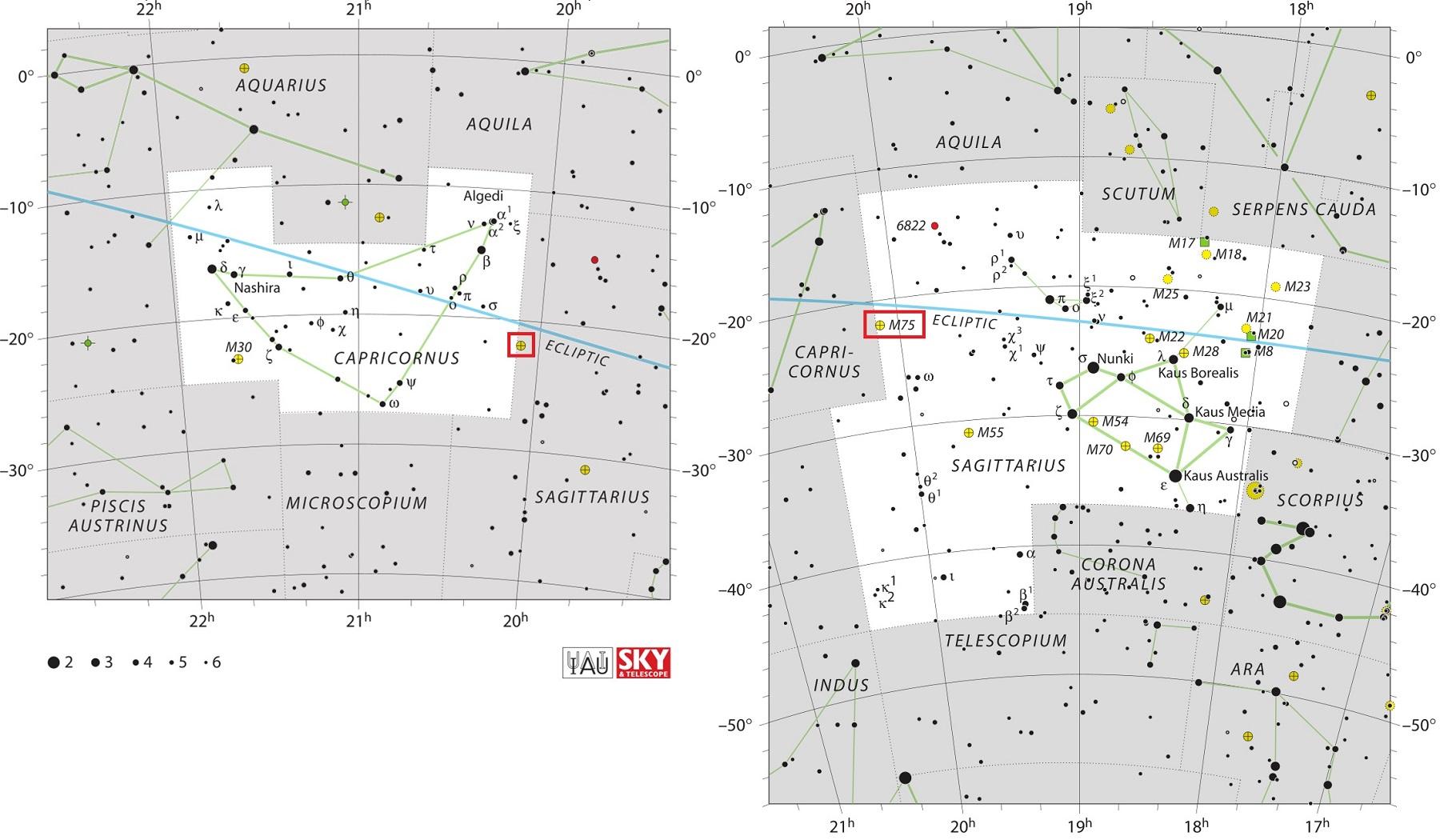 Положение скопления M75 относительно созвездий Козерог и Стрелец