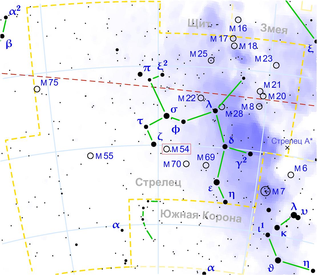 Положение скопления M54 в созвездии Стрельца