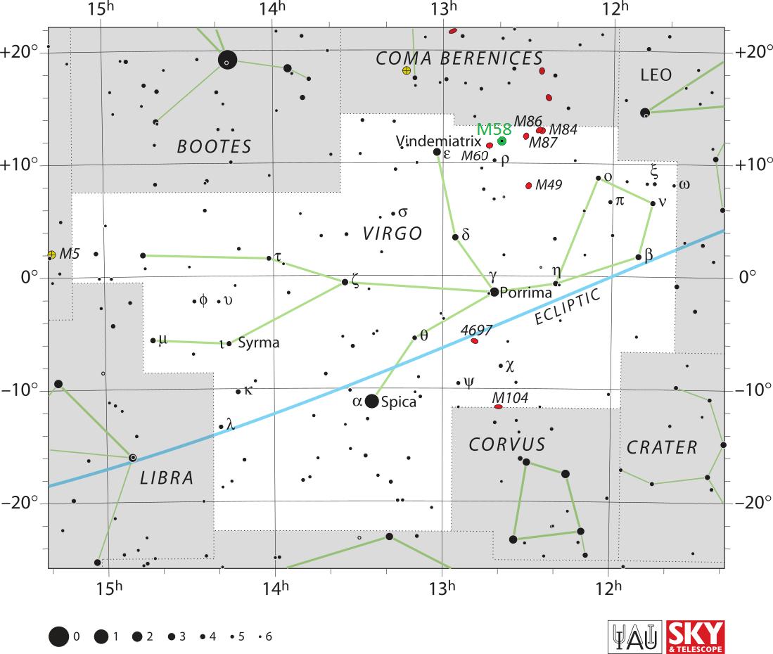 Положение галактики Мессье 58 в созвездии Девы