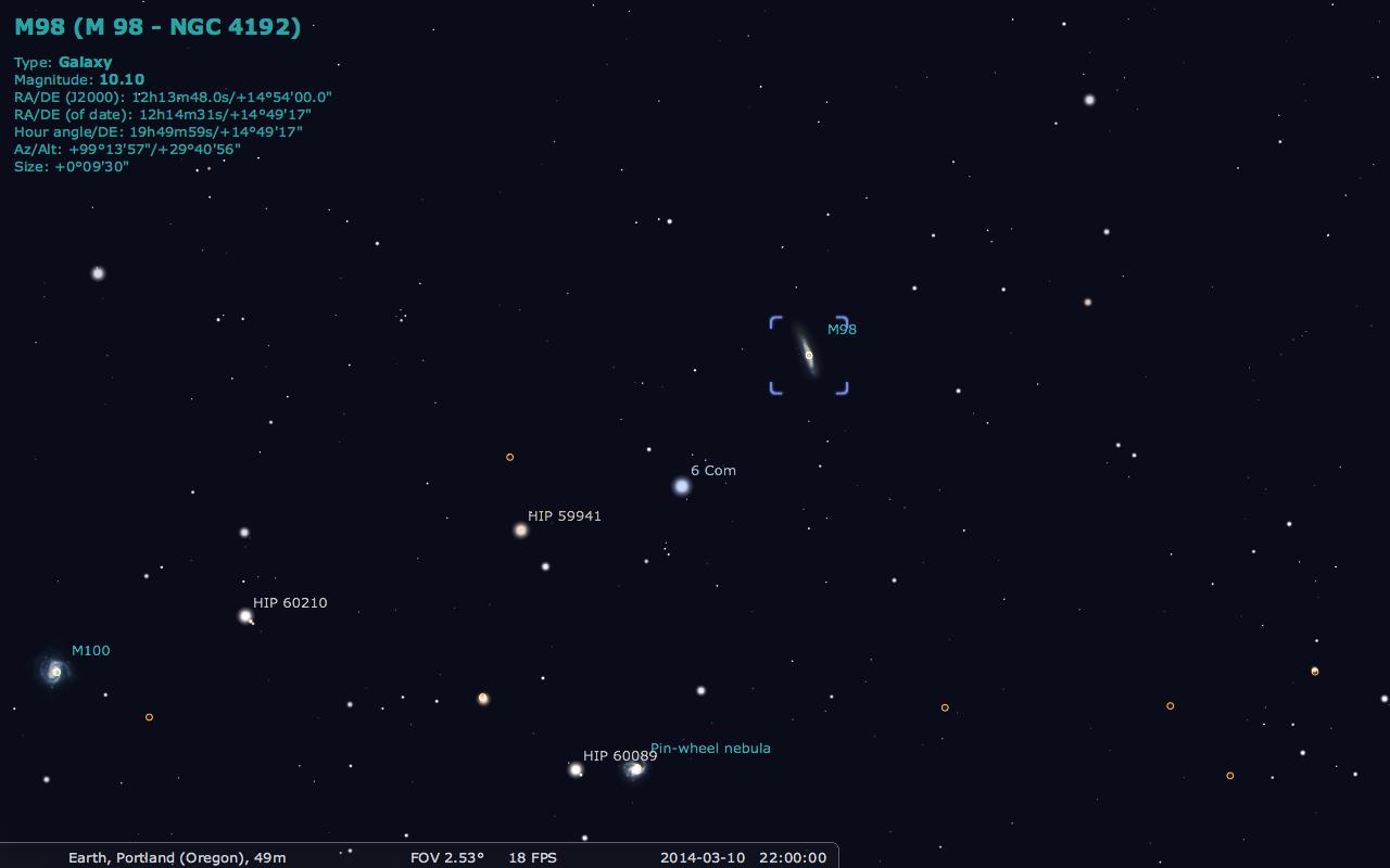 Положение галактики Мессье 98 относительно соседей