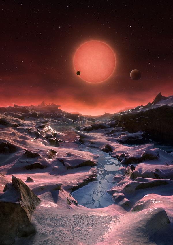Вид с поверхности планеты TRAPPIST-1 d в представлении художника