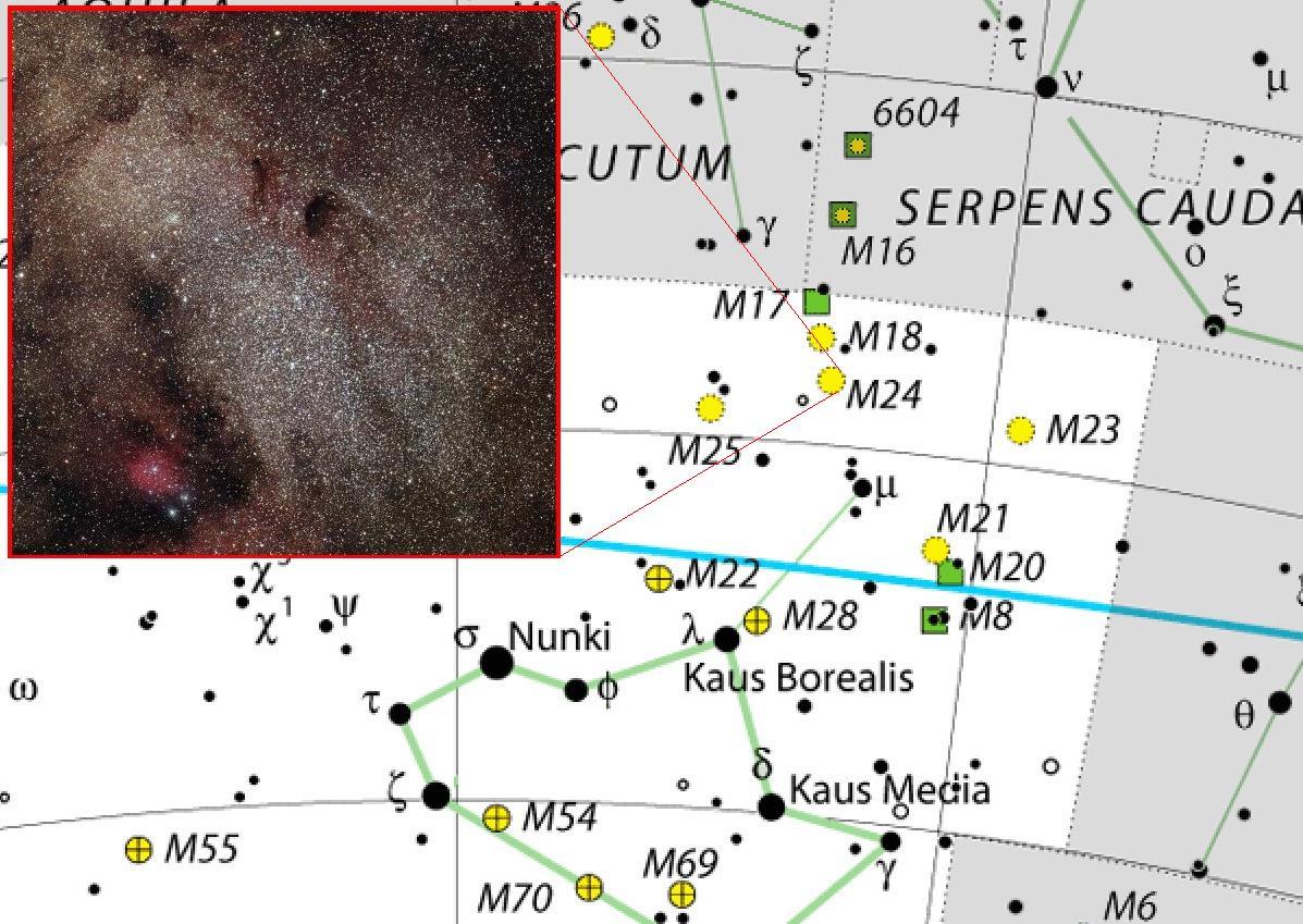 Положение объекта Мессье 24 в созвездии Стрелец