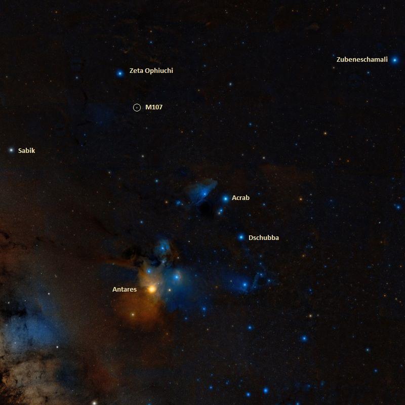 Шаровое скопление M107 на звездном небе