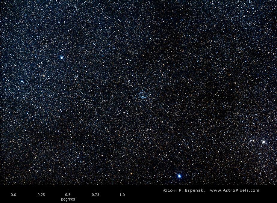 Скопление Мессье 26 в масштабах градуса