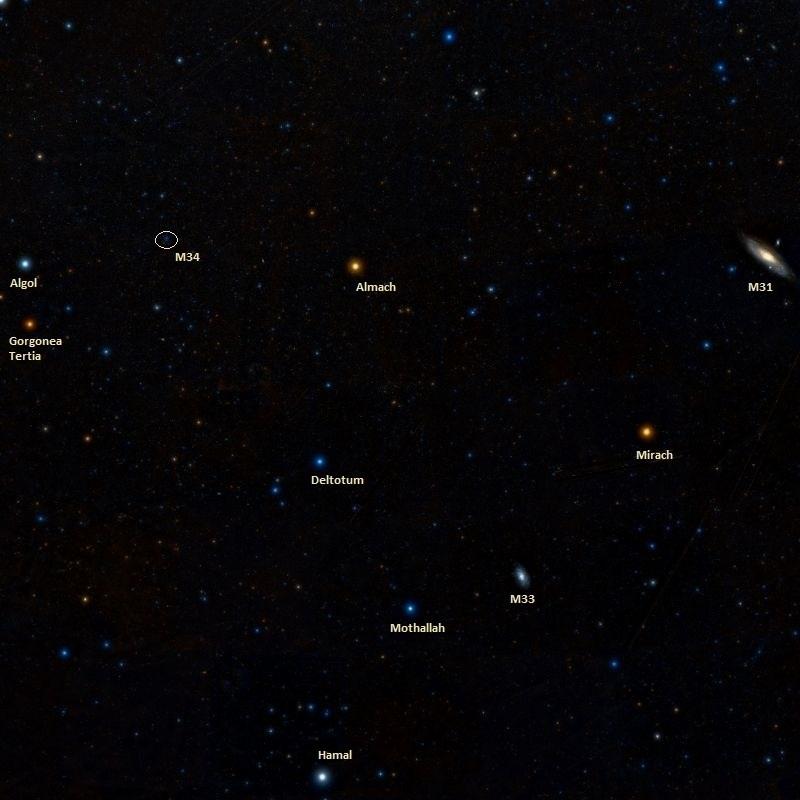 Скопление M34 и соседние объекты