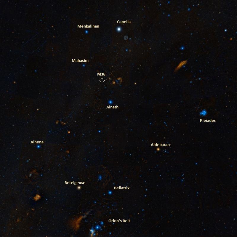 Рассеянное скопление M36 и соседние по небу объекты