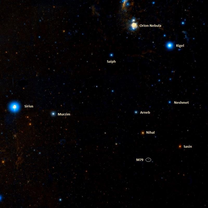 Положение скопления M79 относительно ближайших соседей