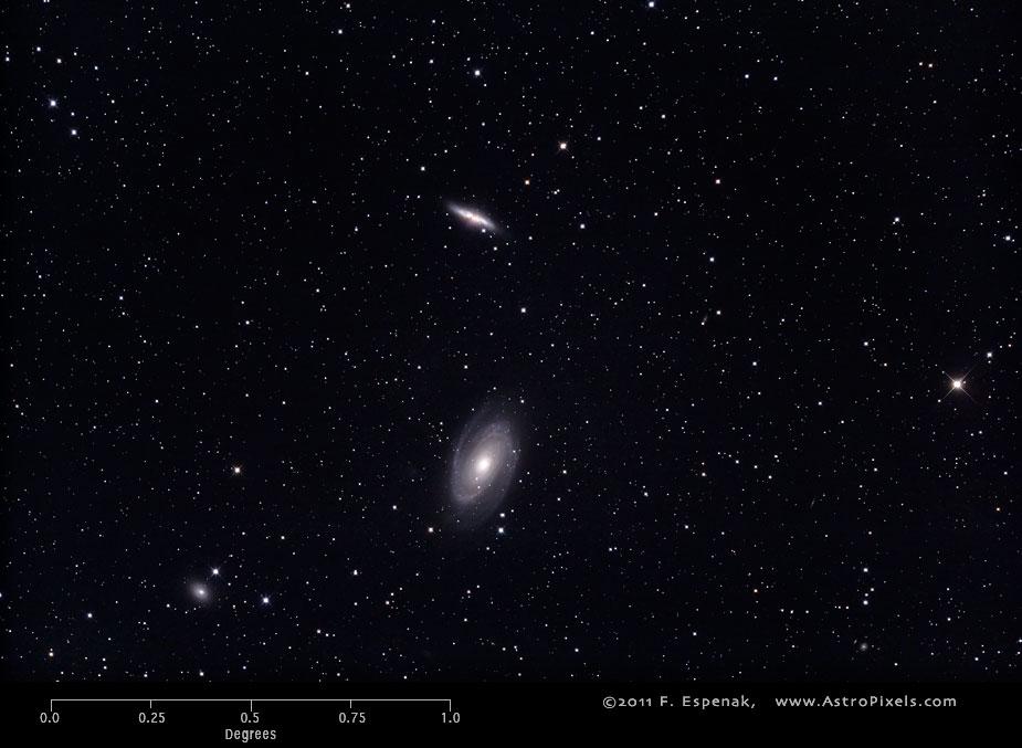 Спиральная галактика M81 в масштабах градуса