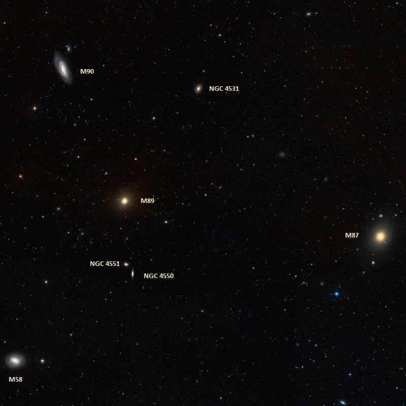 Положение галактики M90 в Скоплении Девы