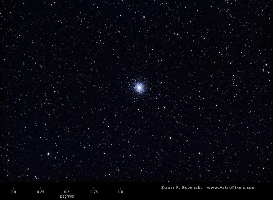 Шаровое скопление M92 в масштабах градуса