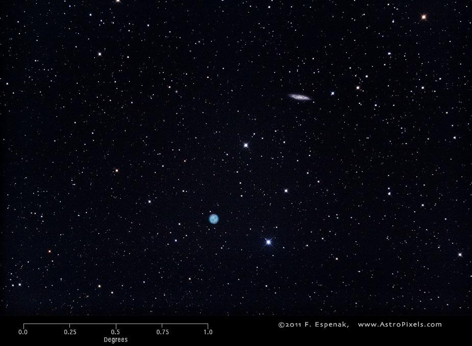 Галактика M108 в масштабах градуса