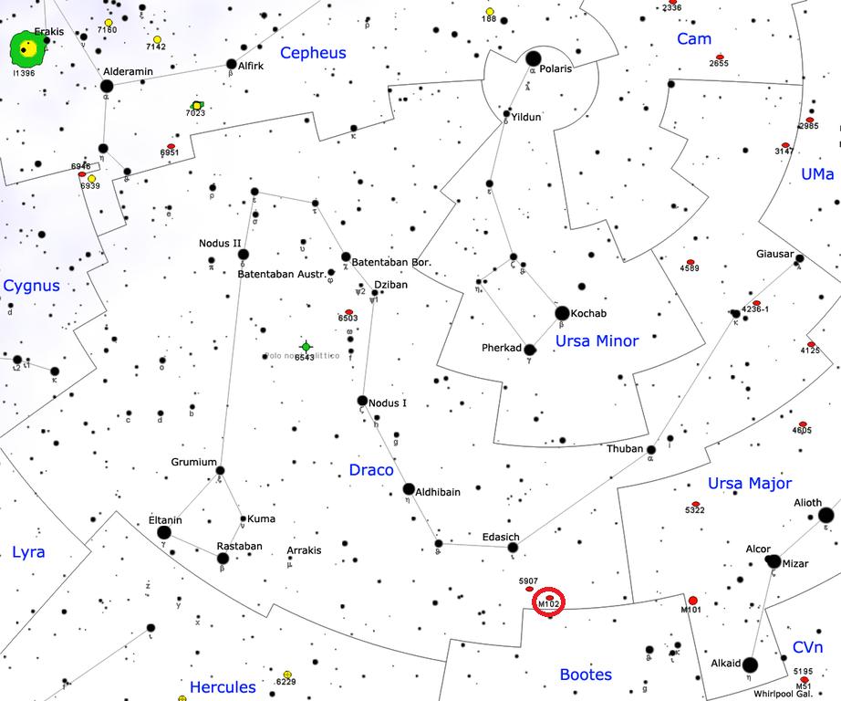 Положение галактики Мессье 102 в созвездии Дракон