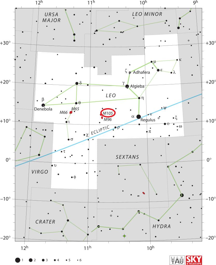 Положение объекта Мессье 105 в созвездии Льва