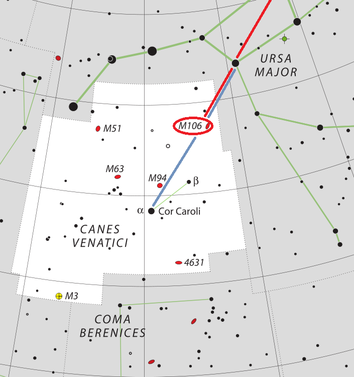 Положение галактики M106 в созвездии Гончие Псы