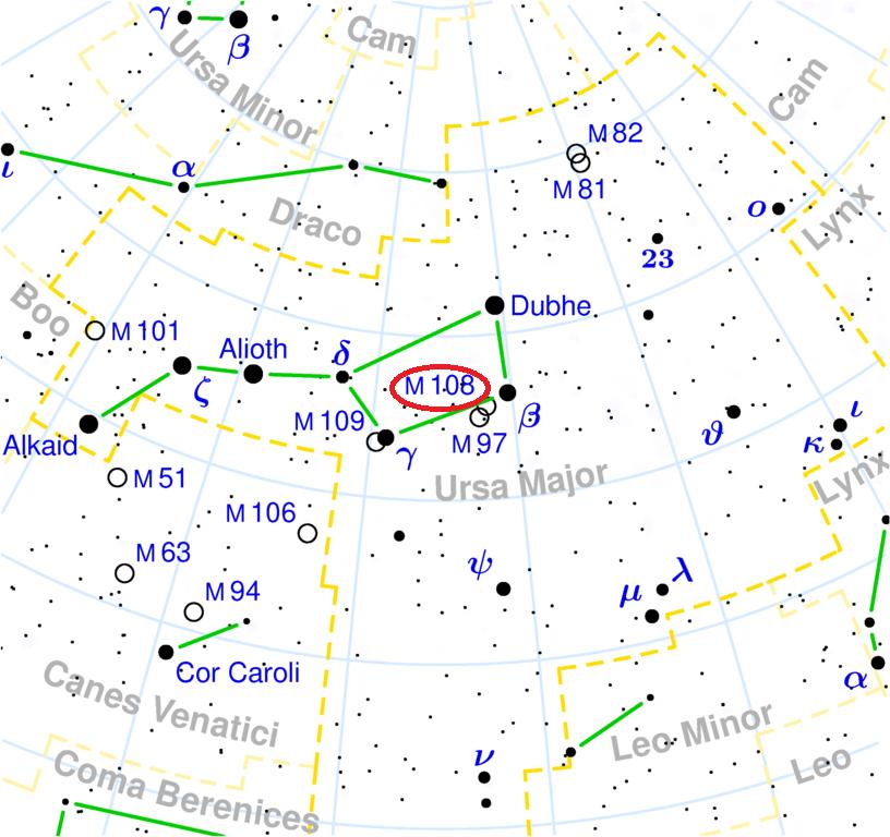 Положение галактики M108 в Большом Ковше